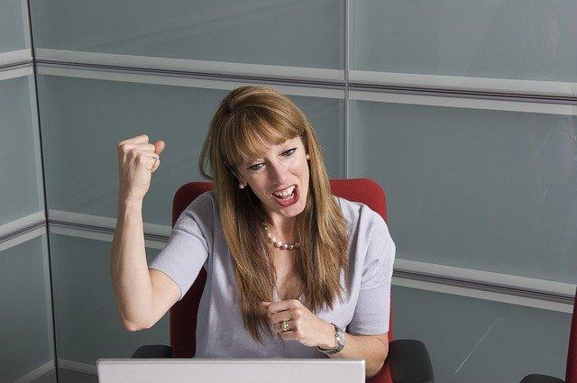 Woman celebrating optimization
